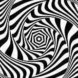 Illusion of vortex movement. Abstract op art design.