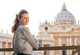 Portrait of young woman on piazza san pietro in vatican city sta