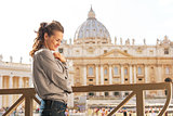 Portrait of young woman in front of basilica di san pietro in va