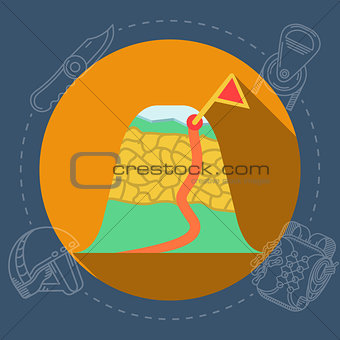 Flat vector illustration for mountaineering route