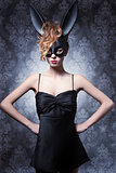 Woman in bunny mask