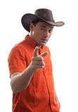 Stylish young man in a cowboy hat