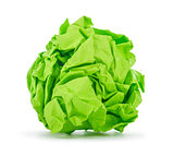 bright green crumpled paper on a white background
