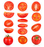 collection of pieces of tomatoes on a white background