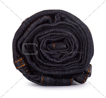 black roll jeans isolated on white background