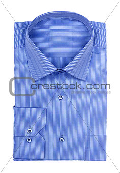 folded shirt with blue stripes on a white background