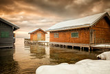 winter lake huts