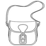 Contour vector illustration. Ladies fashion bag