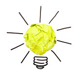 paper lightbulb on a white