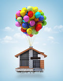 Surreal scene of a house lifted to the sky by air balloons. Conc