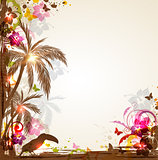 Tropical background with palms and toucan