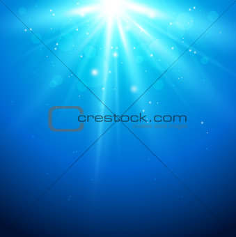 Blue background with sunlight