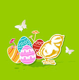 Green Easter background with chicken