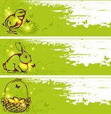 Green vector Easter horizontal banners