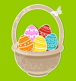 Easter background with eggs in basket