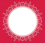 Floral frame on a red background