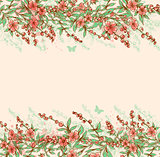 Background with pink flowering branch.