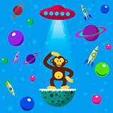 Seamless pattern space monkey, UFO, planets and space rockets