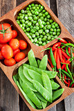 Fresh green peas, tomato and chili