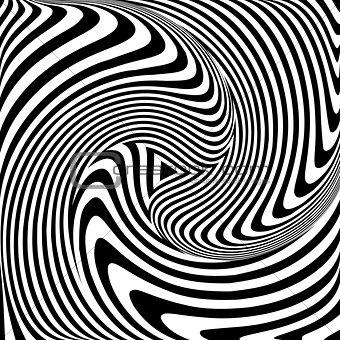 Torsion movement. Op art abstract illustration.