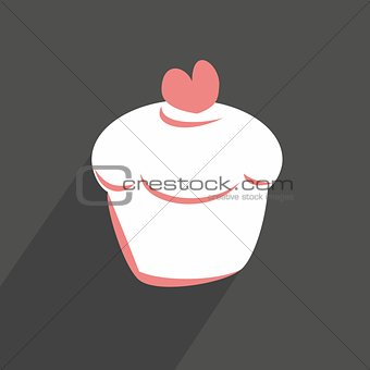 Flat cupcake vector sign isolated on dark background