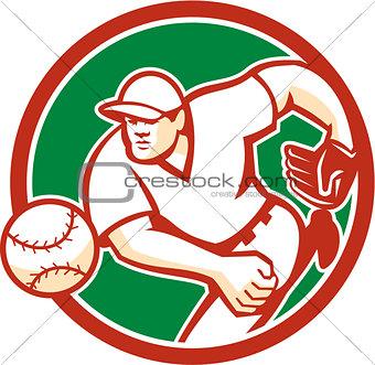 American Baseball Pitcher Throwing Ball Circle Retro
