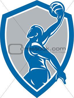 Basketball Player Dunk Ball Shield Retro