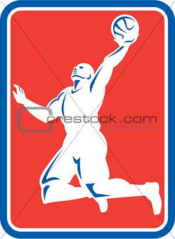 Basketball Player Rebounding Lay-Up Ball Rectangle