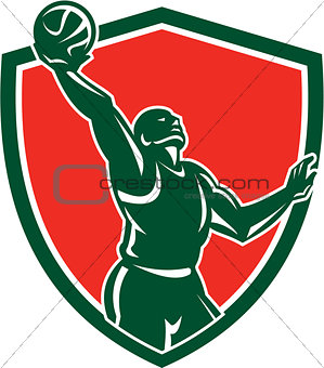 Basketball Player Rebounding Lay-Up Ball Shield