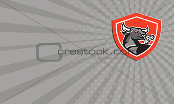 Business card Angry Bull Head Shield Retro