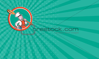 Business card Chef Cook Marching Spoon Circle Cartoon