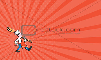 Business card Chef Cook Marching Spoon Cartoon