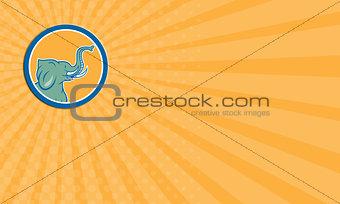 Business card Elephant Head Side Circle Cartoon
