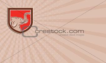 Business card Elephant Head Side Shield Cartoon