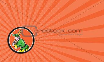 Business card Elf Baseball Player Batting Circle Cartoon