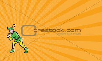 Business card Elf Baseball Player Batting Isolated Cartoon
