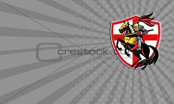 Business card English Knight Lance England Flag Shield Retro
