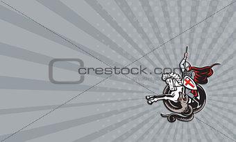 Business card English Knight Fighting Dragon England Flag Shield Retro