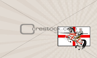 Business card English Knight Lance Horse England Flag Side Retro