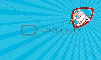 Business card Zeus Wielding Thunderbolt Shield Retro