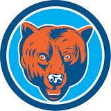 Grizzly Bear Head Front Circle Retro