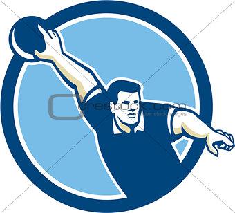 Bowler Throwing Bowling Ball Circle Retro