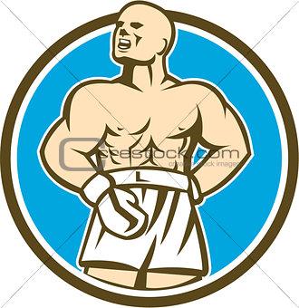 Boxer Champion Shouting Circle Retro