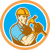 Builder Carpenter Holding Hammer Circle Retro