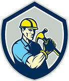 Builder Carpenter Holding Hammer Shield Retro