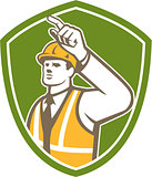 Builder Construction Worker Pointing Shield Retro