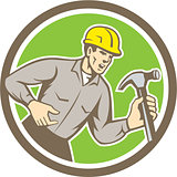 Builder Carpenter Shouting Hammer Circle Retro