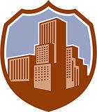 Urban Skyscraper Buildings Shield Retro