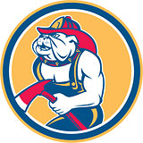 Bulldog Fireman With Axe Circle Retro