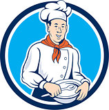 Chef Cook Holding Spoon Bowl Circle Cartoon